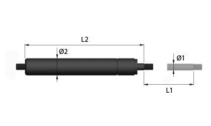 Műszaki rajz - Húzó gázrugók