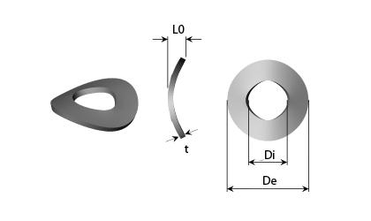 Műszaki rajz - Ívelt rugós alátétek
